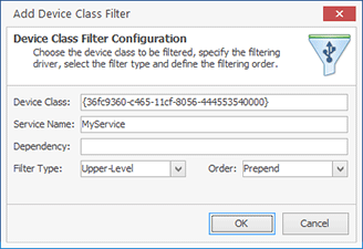 Registering a driver as an upper-level device class filter