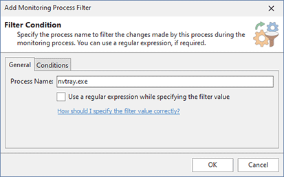 Configuring a Monitoring Process Filter condition
