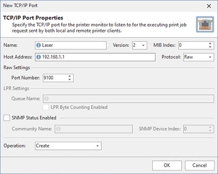 Adding a TCP/IP port