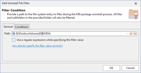 Configuring an Uninstall File Filter condition