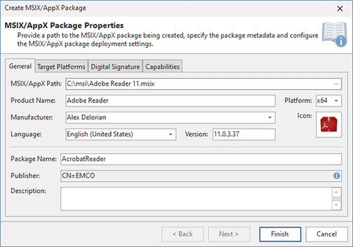 Specifying general MSIX/AppX package information