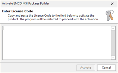 Activating EMCO MSI Package Builder Architect