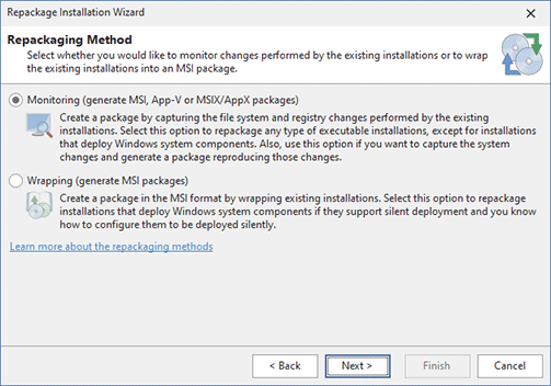 Installation packaging options available in the Enterprise edition