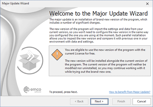 The Major Update Wizard welcome page