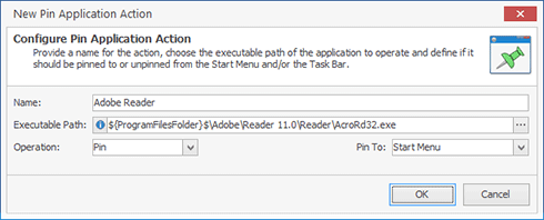 Creating a new Pin Application action