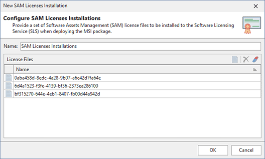 Creating a new SAM Licenses Installation action