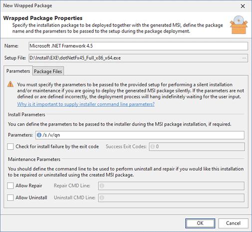 Configuring the .NET Framework install options
