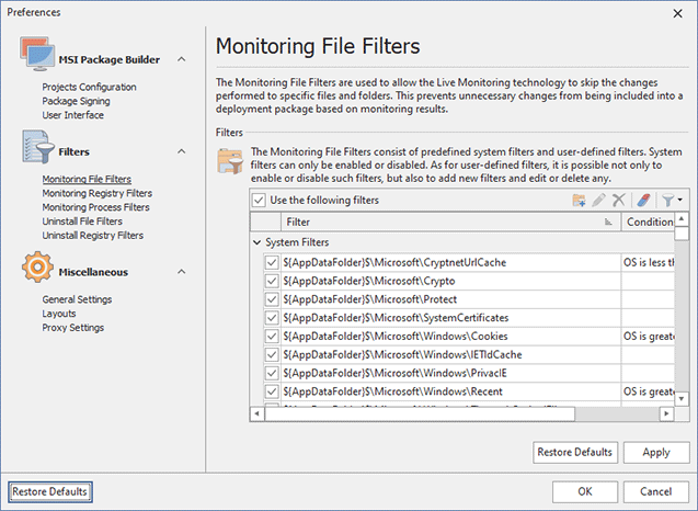 Configuring Monitoring File Filters