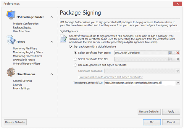 Configuring the package signing options