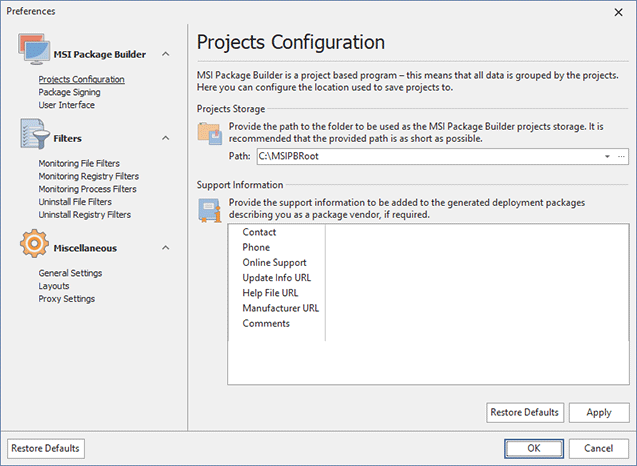 The Projects Configuration preference page