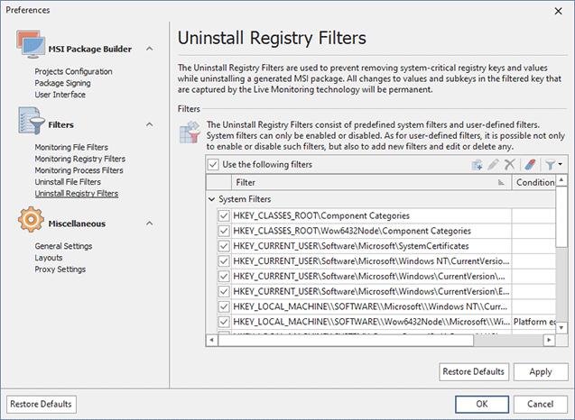 Configuring Uninstall Registry Filters