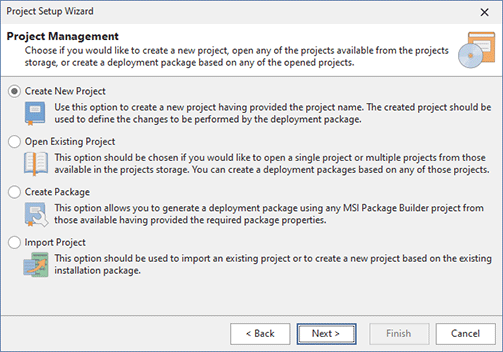 The Project Setup Wizard