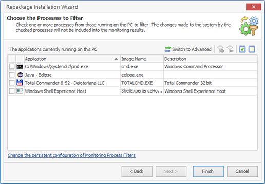 Extending monitoring process filters