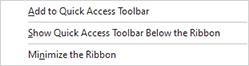 The Ribbon customization menu