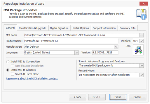 Specifying the MSI generation options