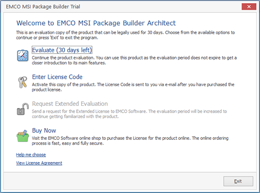 The EMCO MSI Package Builder Architect Evaluation Wizard welcome page