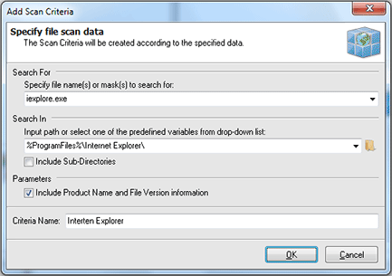 Specifying File System Scan criteria