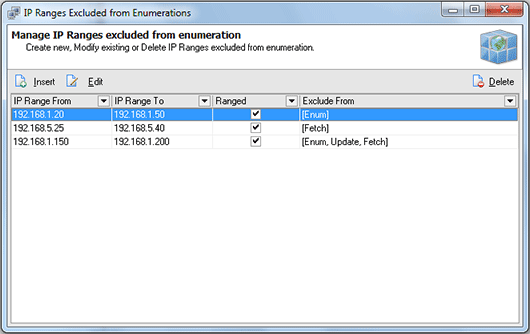The IP Ranges Excluded from Enumeration dialog