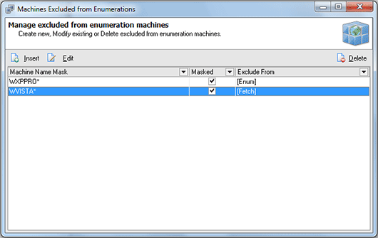 The Machines Excluded from Enumeration dialog