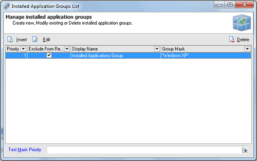 The Installed Applications Groups List dialog