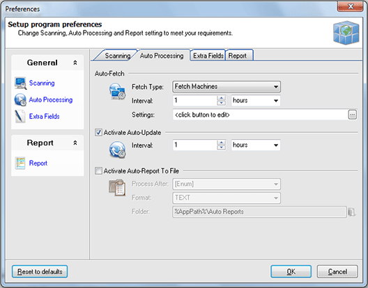 Configuring auto processing options