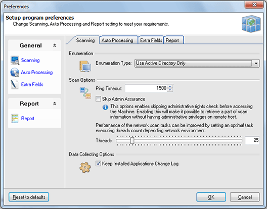 Configuring scanning settings