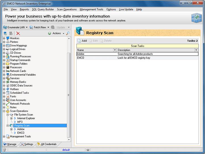 Registry scan tasks list
