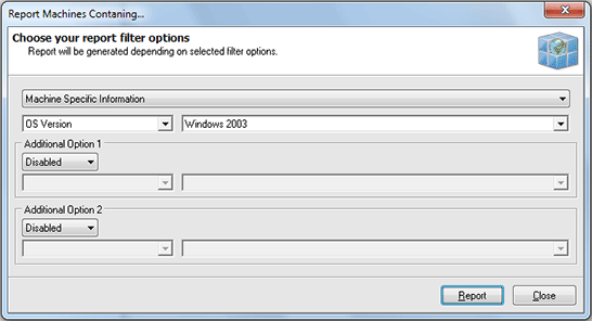 The Report Machines Containing dialog