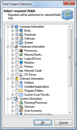 Choosing the inventory data to be included into the generated report