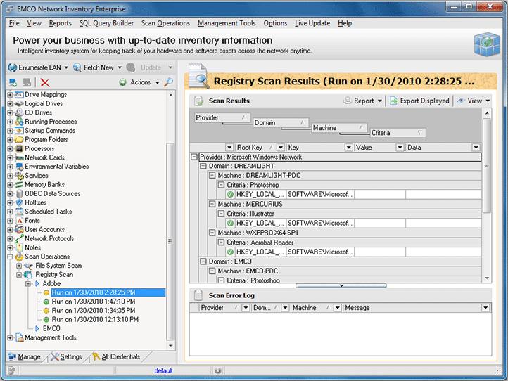 Registry Scan results