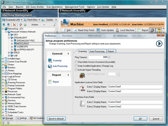 Defining options on Preferences dialog