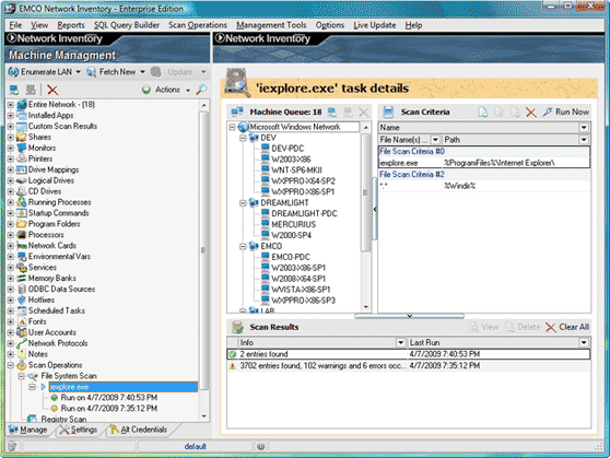 Improved file system and registry scan operations