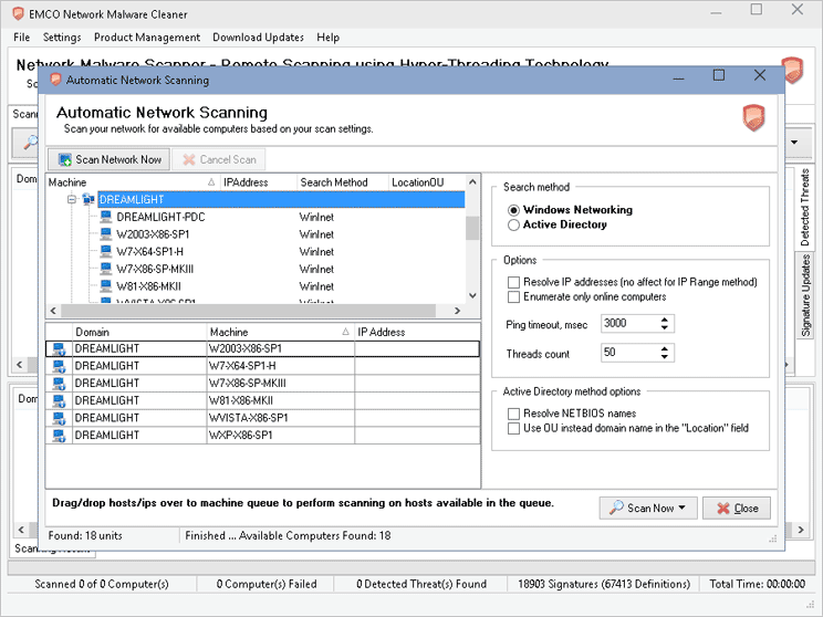 Network Scan Configuration