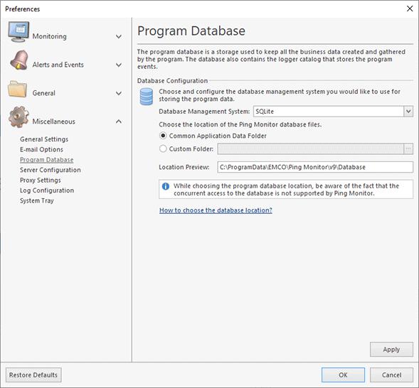 Configuring the SQLite database