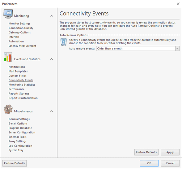 Configuring automatic events removal