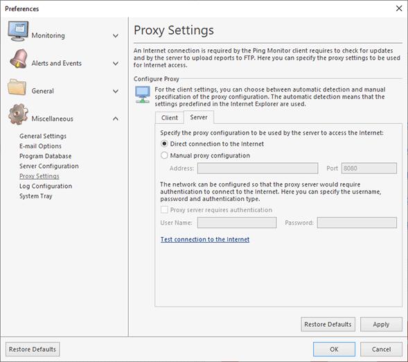 Server proxy settings