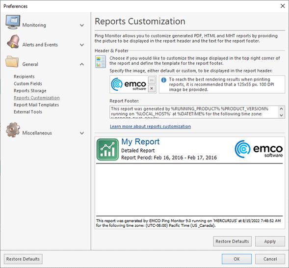 Reports customization