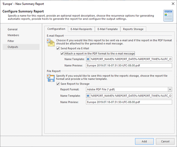 Configuring report outputs