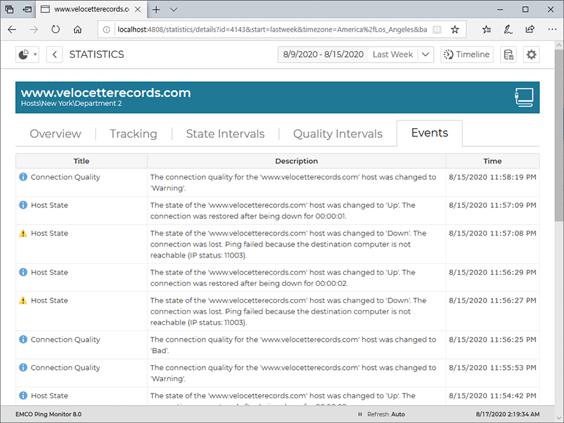 The host events on a single host details page