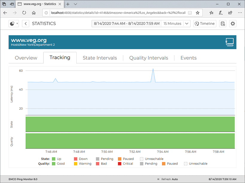 Tracking latency, state and quality