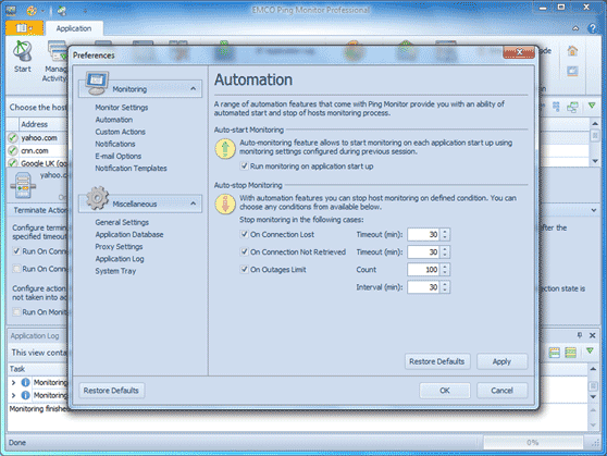 Auto-stop host monitoring