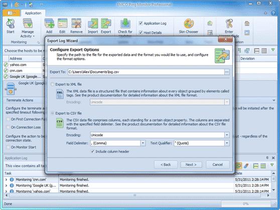 Application log export
