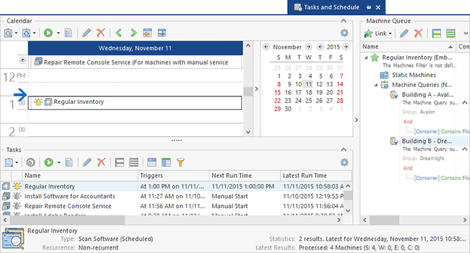 Remote tasks configured on the Tasks and Schedule view