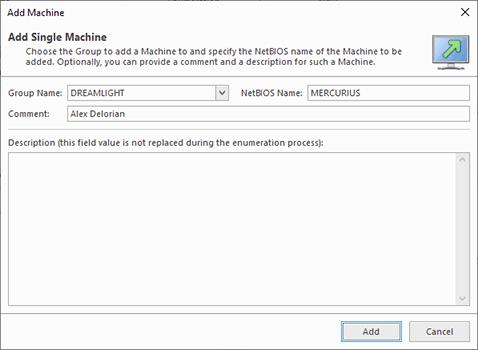 Adding a single Machine