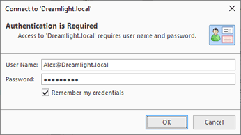 Providing credentials to connect to the Active Directory domain
