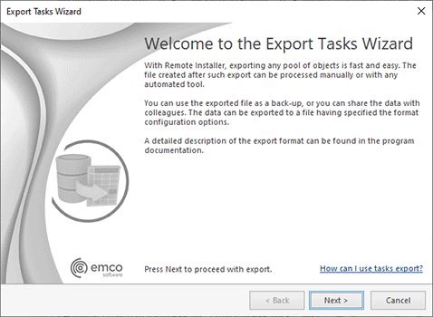 The Export Tasks wizard welcome page