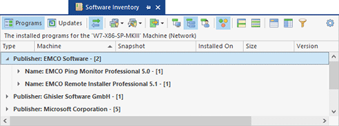 Software inventory information for a remote PC