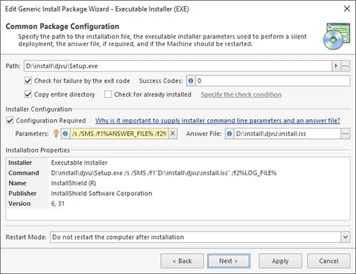 Configuring the executable installer