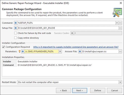 Executable Installer Configuration (Manual Configuration)