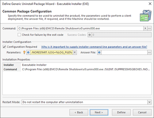 Executable Installer Configuration (Manual Configuration)